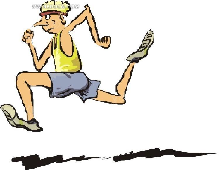 阔步奔跑的卡通人物
