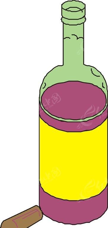 手绘红酒瓶