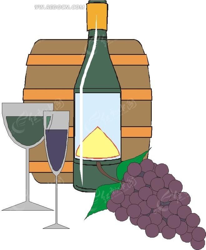 葡萄红酒和酒桶矢量图_生活用品