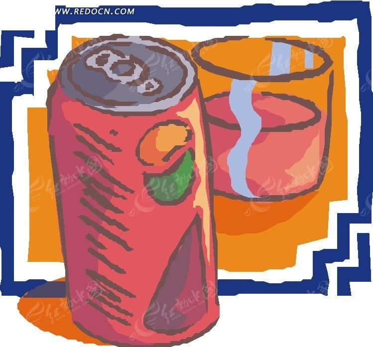 手绘易拉罐和杯子