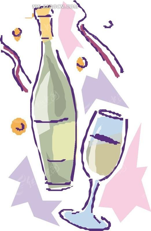 手绘酒瓶 酒杯 红酒杯
