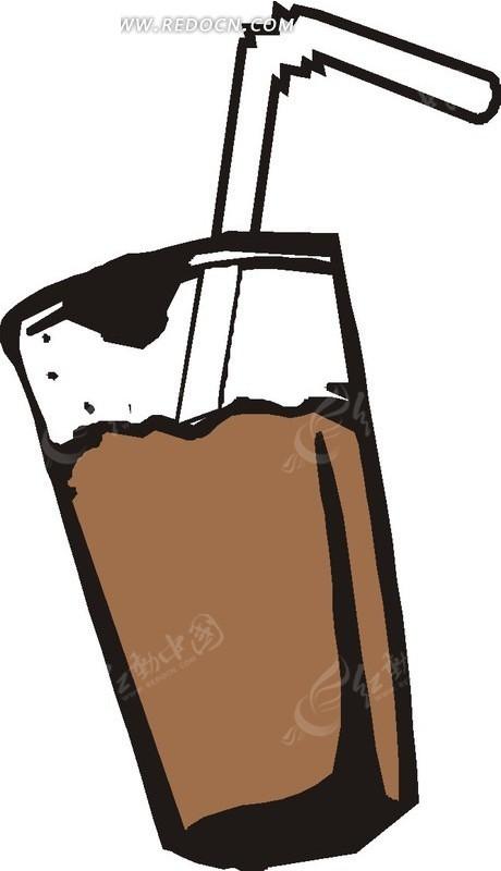 杯子里带吸管的饮品矢量图