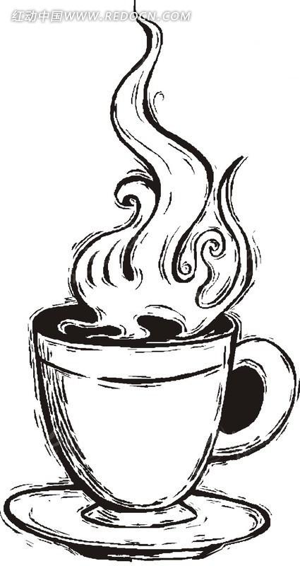 线描 速写 热气 茶杯 生活用品 生活百科 矢量素材 eps 餐饮美食