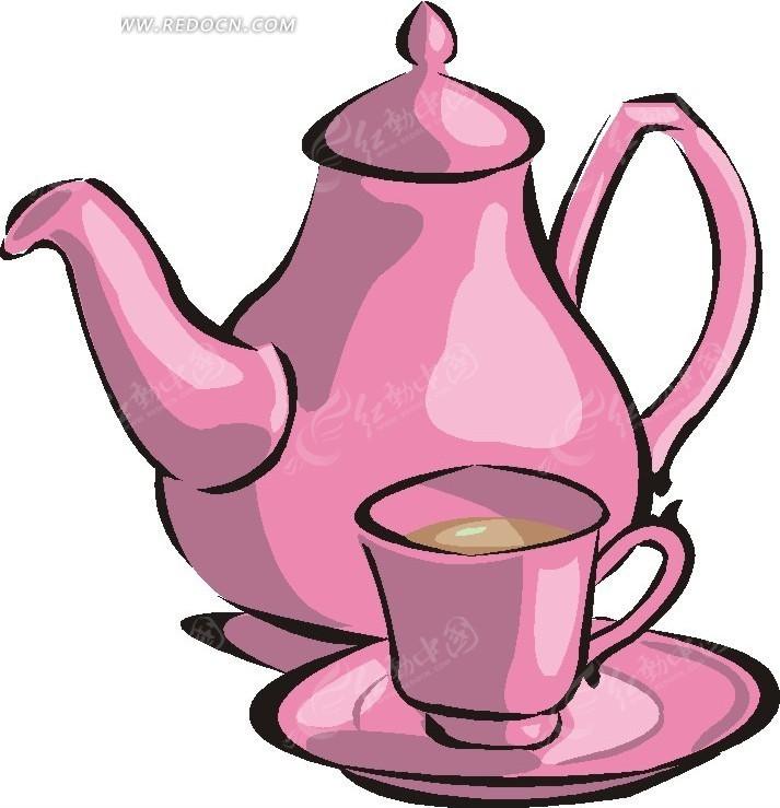 粉红色咖啡杯具卡通画eps免费下载_餐饮美食素材