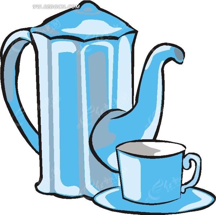 蓝色茶壶和茶杯插画矢量矢量图
