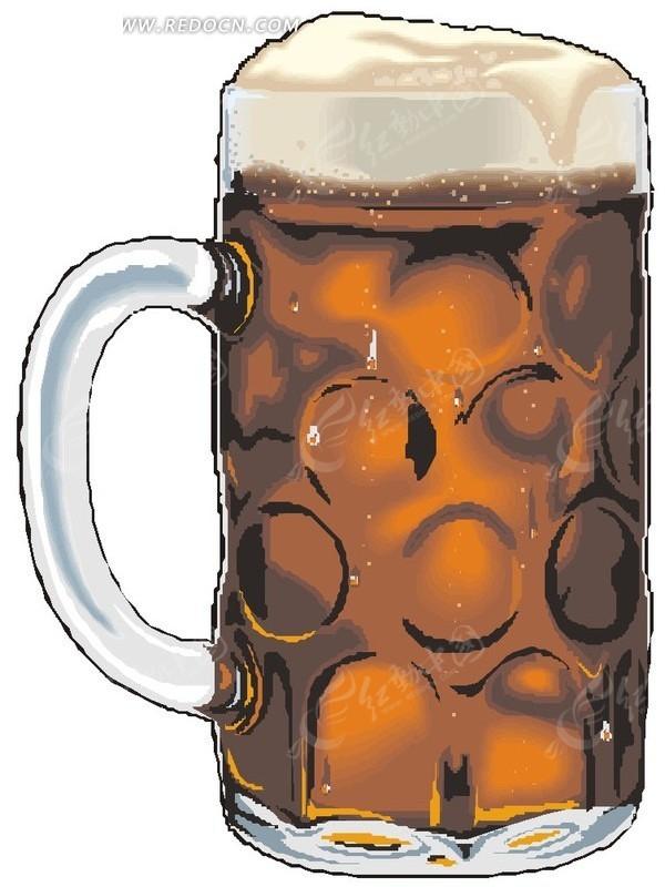 一杯啤酒卡通画矢量图_餐饮美食