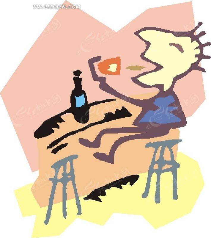 品尝红酒的卡通人物