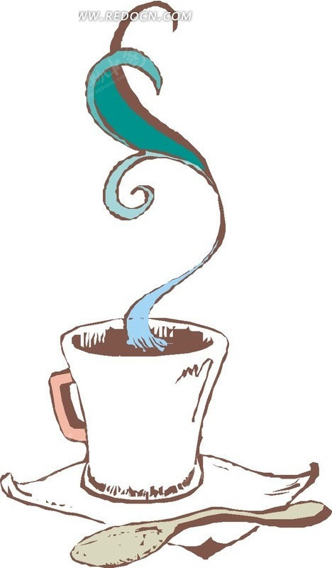 手绘 茶杯 勺子 生活用品 生活百科 矢量素材 eps 餐饮美食