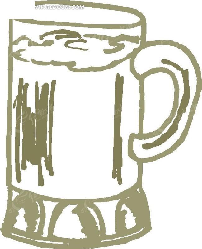 手绘啤酒杯
