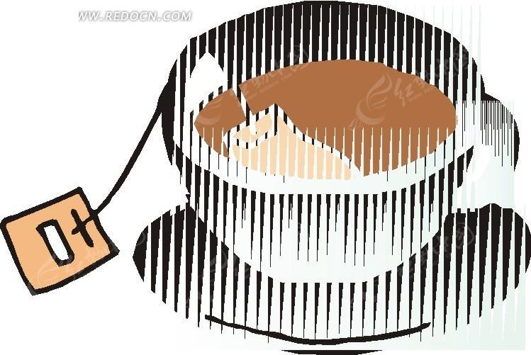 手绘茶杯的茶包标签
