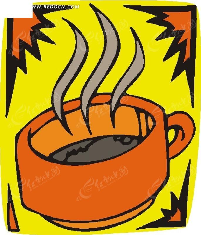 冒着热气的饮品卡通画矢量图_餐饮美食