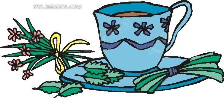 手绘蓝色的瓷茶杯