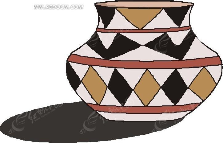 菱形花纹陶罐