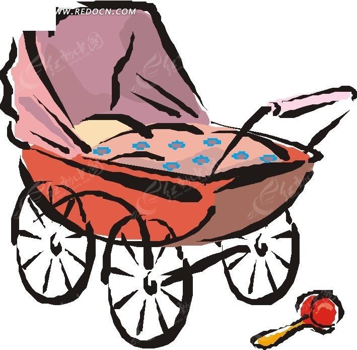 手绘婴儿车和摇铃