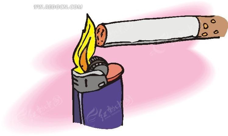 打火机与香烟矢量图_生活用品
