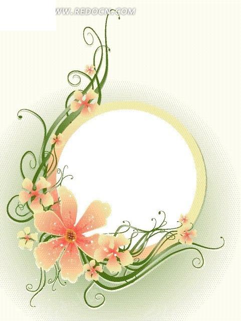 免费素材 矢量素材 花纹边框 底纹背景 花朵藤蔓圆形
