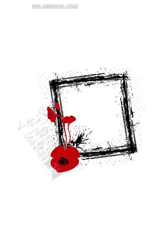 手绘红色花朵装饰的黑色方形边框