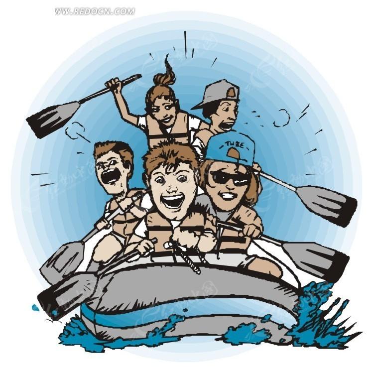 手绘插画水上的皮划艇