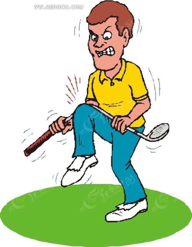 男人气愤折断高尔夫球杆插画矢量图_体育运动