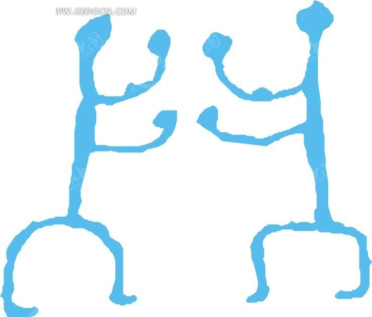 线描手绘两个蓝色小人矢量图