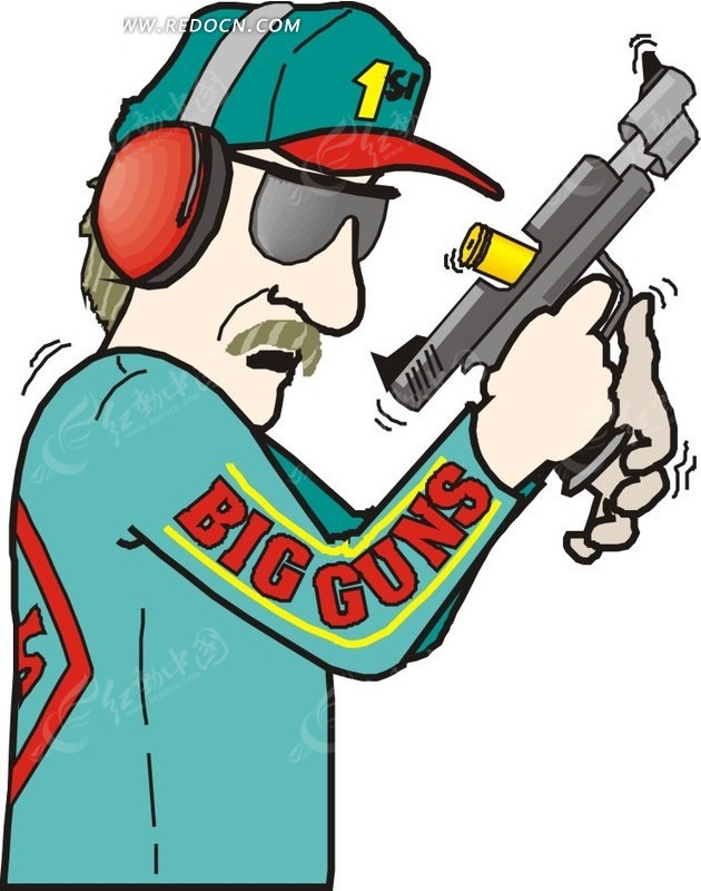 手绘拿枪的射击手矢量图