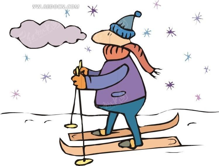 滑雪 卡通人物 卡通画 插画 手绘 矢量素材 人物图片  生活百科