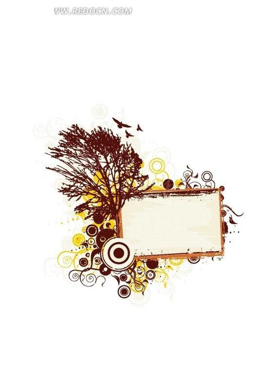 树木 鸟儿 圆形 卷曲 花纹 花纹素材 花边 花边素材 矢量素材 eps