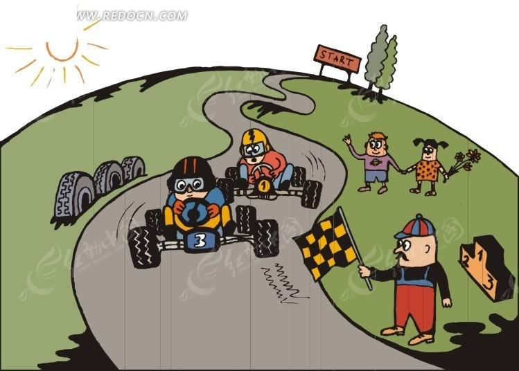 儿童手绘赛车比赛矢量图