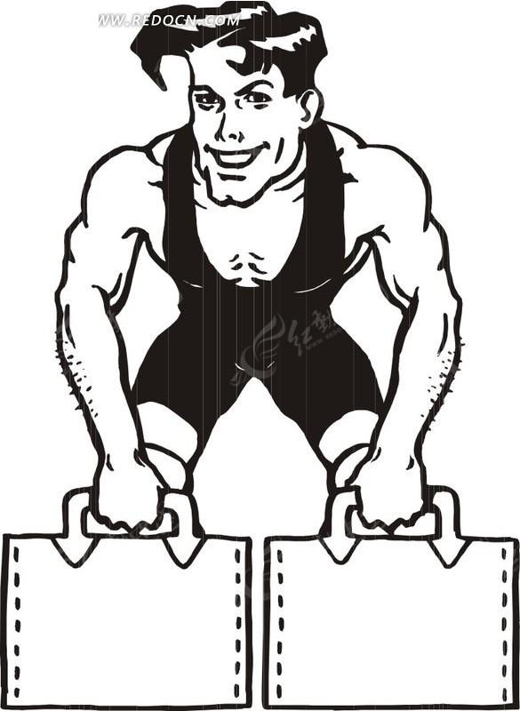 健身的男子黑白插画矢量