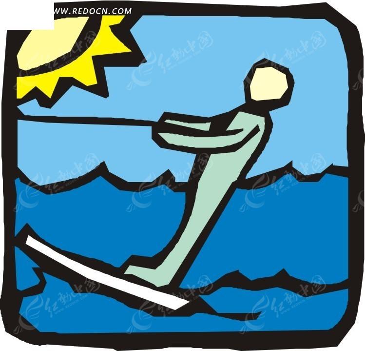手绘图案水上冲浪eps免费下载_体育运动素材