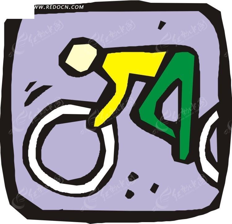手绘图案骑单车的人