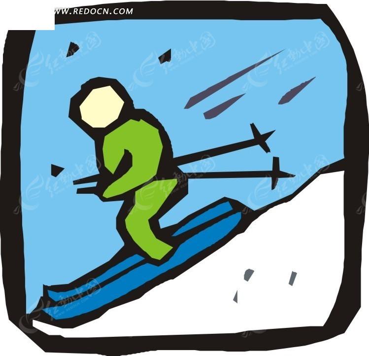 滑雪的人卡通画