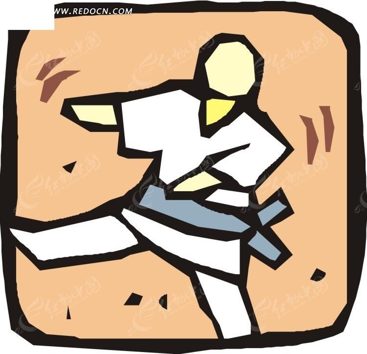 手绘跆拳道运动员