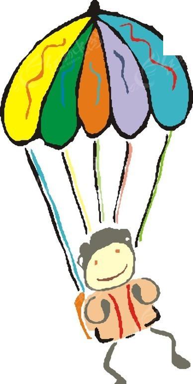跳伞 体育运动 卡通画 插画 手绘 矢量素材 人物图片 卡通形象  生活