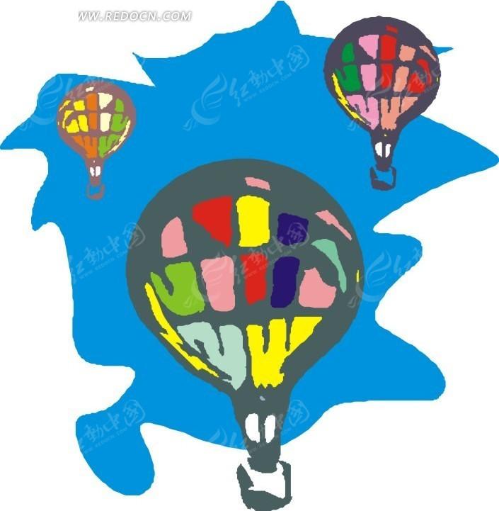 手绘彩色的热气球