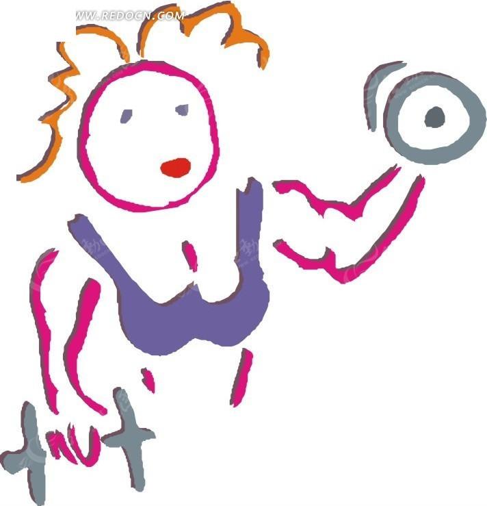 儿童手绘拿着哑铃的美女矢量图_体育运动