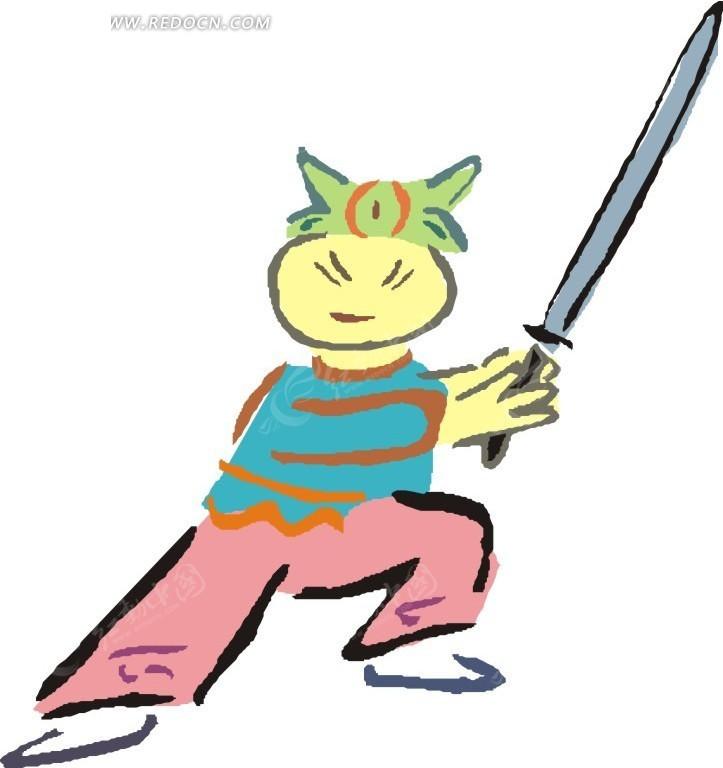 儿童手绘舞剑的人eps素材免费下载_红动网