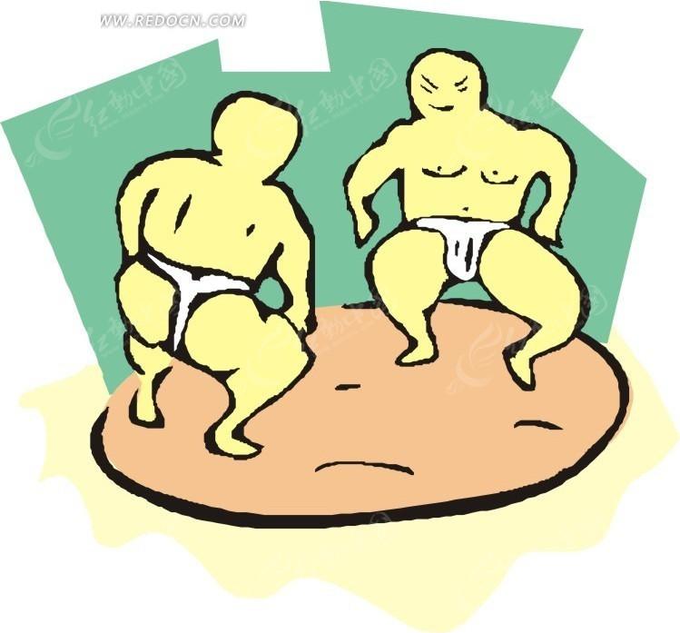 儿童手绘相扑运动