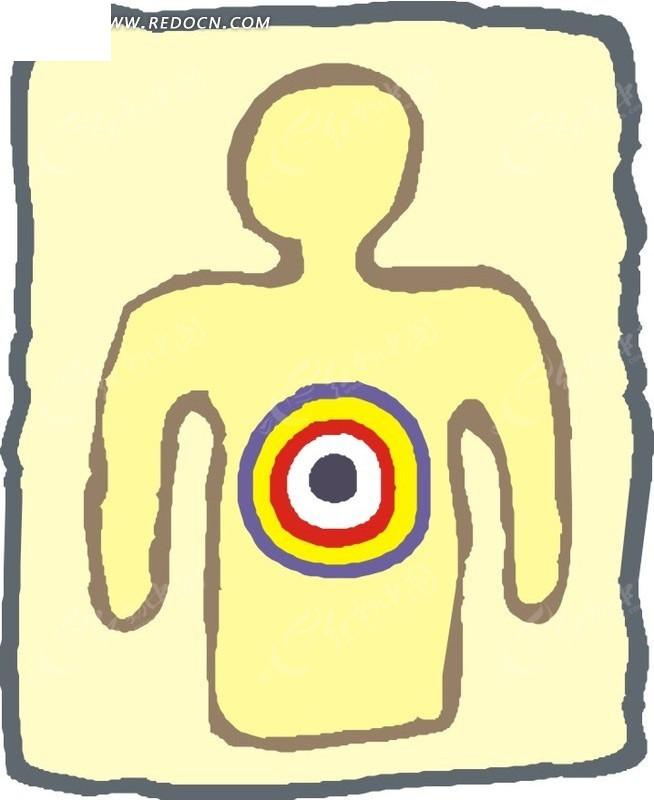儿童手绘人形标靶矢量图_体育运动