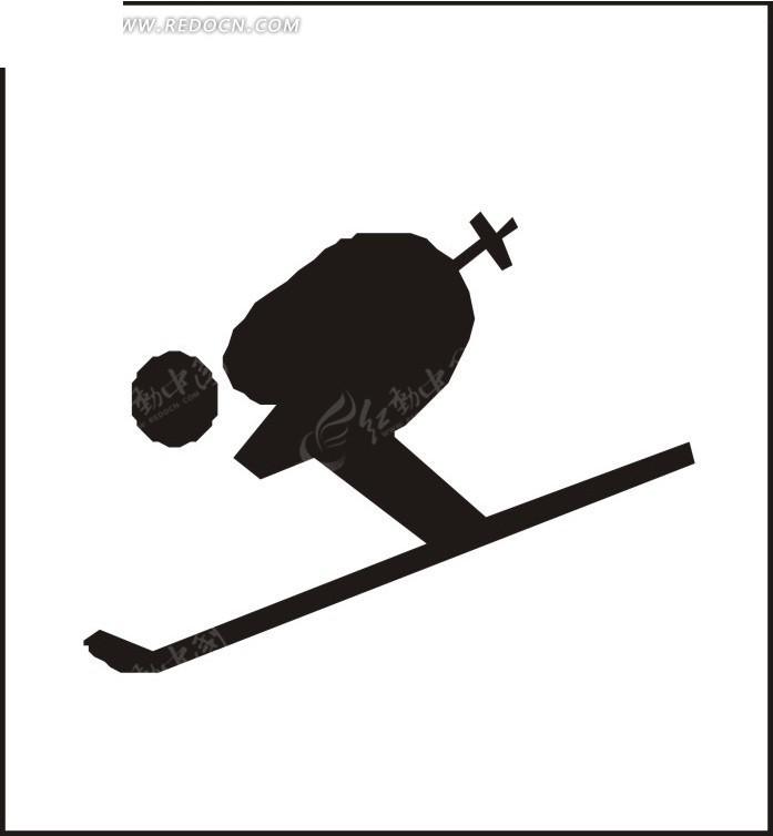 弯腰滑雪的卡通人物