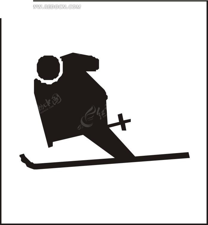 卡通人物滑雪剪影