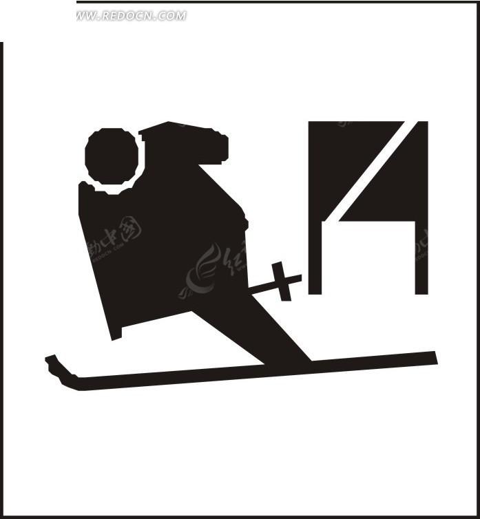 滑雪的卡通人物剪影