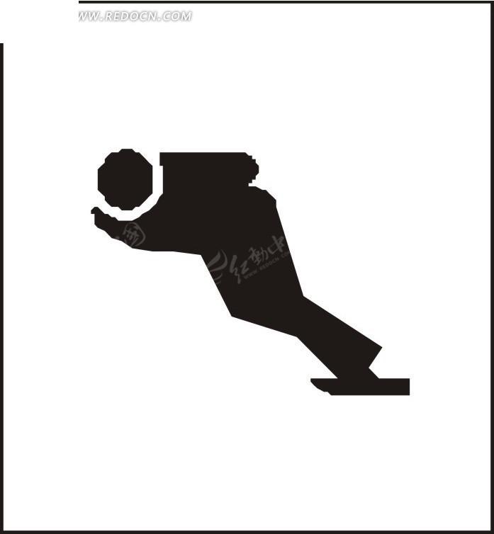 卡通人物滑冰剪影