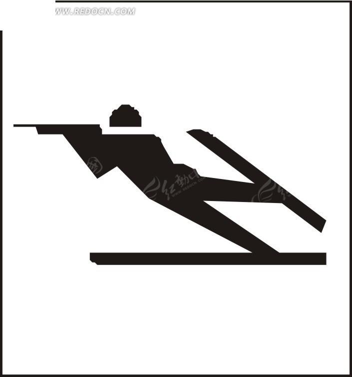 穿着滑雪板的卡通人物矢量图