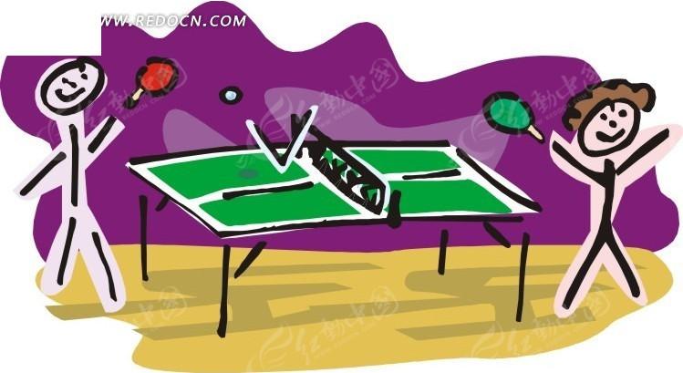 打乒乓球的卡通人物