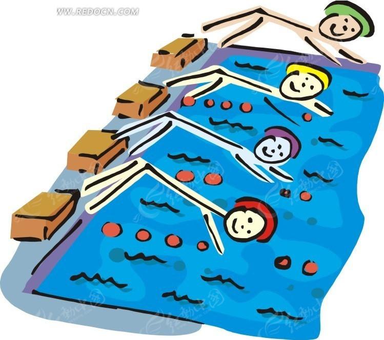 游泳比赛的卡通人物