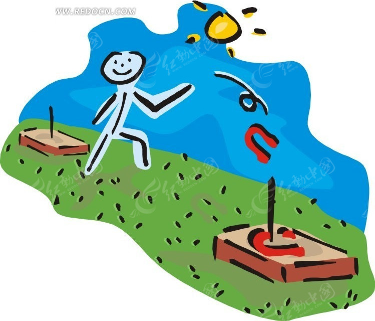 儿童手绘掷马蹄铁的人