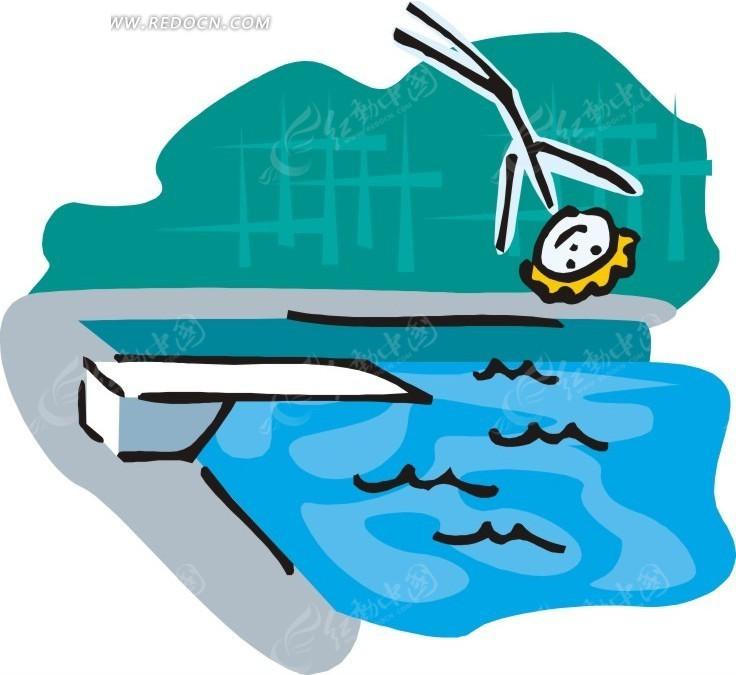 做跳水运动的卡通人物