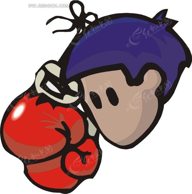 卡通人物头像和拳击手套