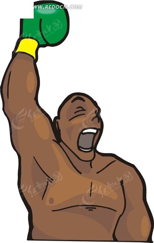 戴着拳击手套的卡通人物